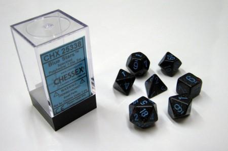 Blue Stars Speckled Polydice Dobbelsteen Set (7 stuks)