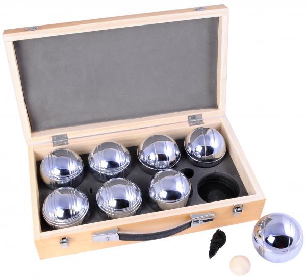 Jeu de boules in houten kist - 8 ballen 720gr.