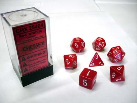 Opaque Red/white Polydice Dobbelsteen Set (7 stuks)