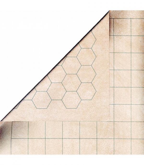 Reversible Battlemat groot (1 inch grote hexes en vierkanten)
