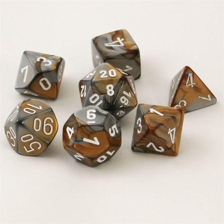 Gemini Copper-Steel/white Polydice Dobbelsteen Set (7 stuks)