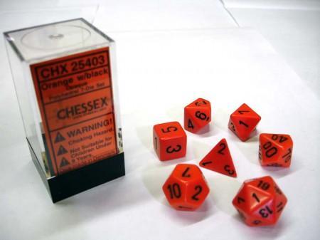 Opaque Orange/black Polydice Dobbelsteen Set (7 stuks)