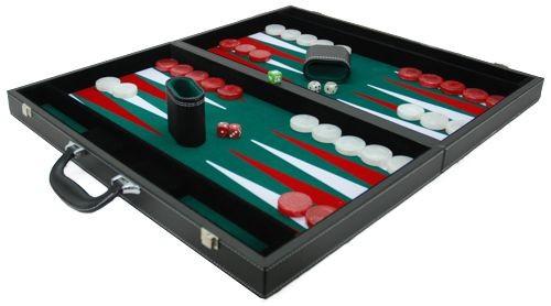 Backgammonkoffer zwart/groen XL