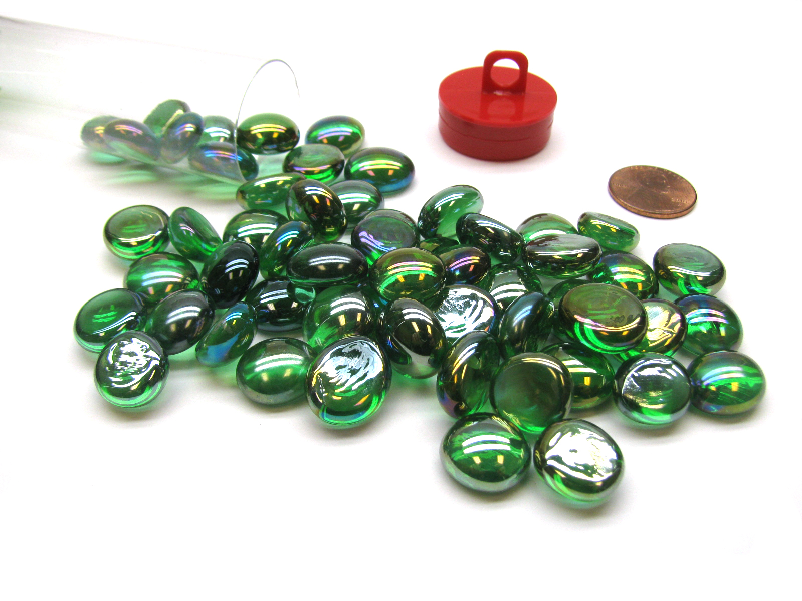 Glass Gaming Stones - Crystal Green Iridized (40+)