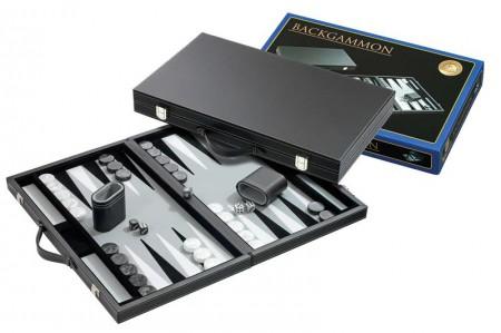 Backgammon Koffer Groot Standaard (Grijs)