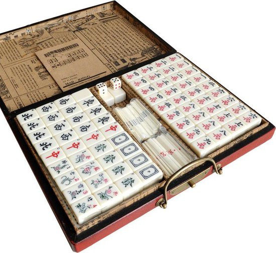 Mahjong Koffer rood hout XL