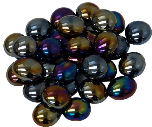 Glass Gaming Stones - Black Opal Iridized (40+)