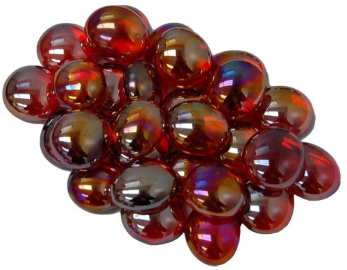 Glass Gaming Stones - Crystal Red Iridized (40+)